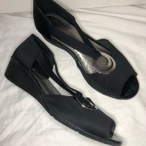 Black wedges with silver embellishment